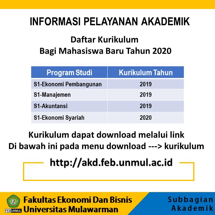 Info Akademik FEB Unmul (Daftar Kurikulum Bagi Mahasiswa Baru Tahun 2020)